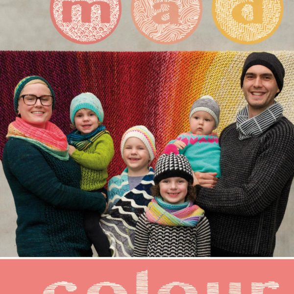 Mad Colour book cover showing a family wearing colorful knits
